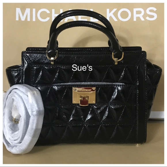 69f389004a NWT MK Vivianne Small Tz Patent Leather Messenger